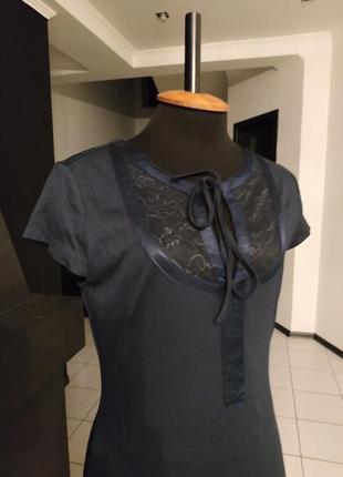Синее платье в бельевом стиле кружево атлас