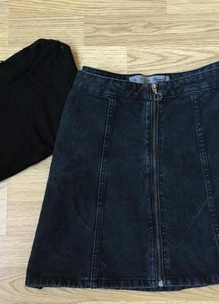Черная джинсовая мини юбка трапеция на молнии denim co