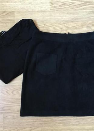Черная замшевая мини юбка трапеция boohoo