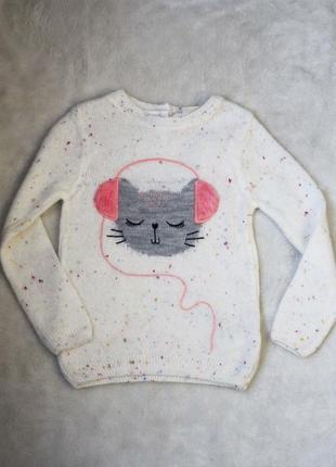 Очень крутой милый свитер для девочки кот в наушниках котик джемпер кофта