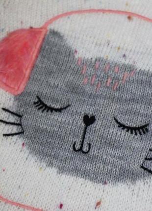 Очень крутой милый свитер для девочки кот в наушниках котик джемпер кофта2