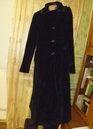 Красивое велюровое на синтепоне пальто длинное весна-осень теплое,винтаж