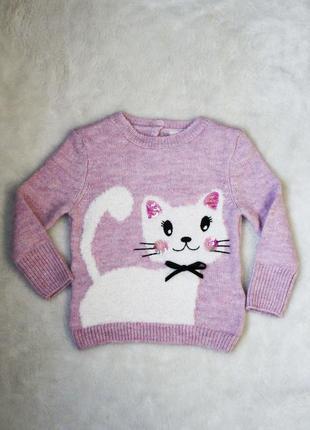 Супер качество!очень крутой милый свитер для девочки кот с бантиком котик джемпер кофта