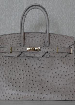 Шикарная кожаная сумка borse in pelle италия под кожу страуса. в стиле  hermes birkin 92aa1aea7f115