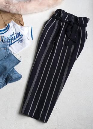 Стильная midi на высокой посадке летняя юбка в полоску лён с карманами с поясом от f&f