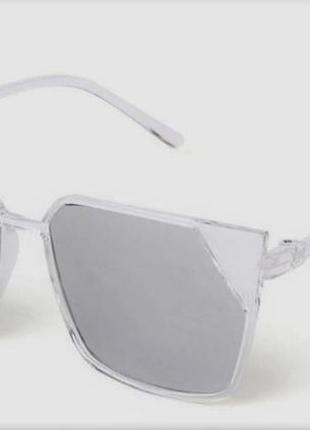Невесомые солнцезащитные женские очки прозрачная оправа зеркальные серебристые линзы