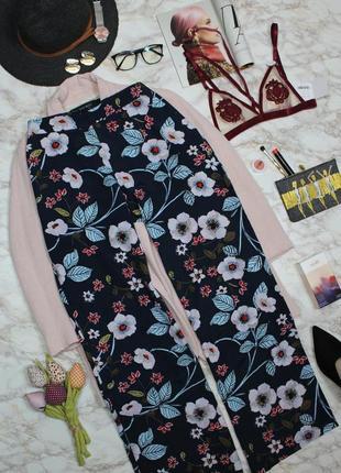 Обнова! брюки штаны палаццо трубы синие флористический принт