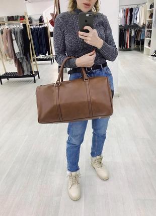 🔥эксклюзив! коричневая богатая сумка дорожная из эко кожи ручная кладь дорожня сумка1 фото