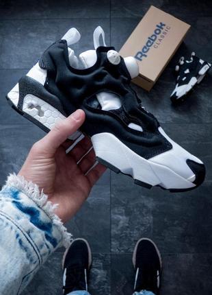 Шикарные женские кроссовки reebok insta pump black  white (весна  лето   осень) 85a4f2b476fe1