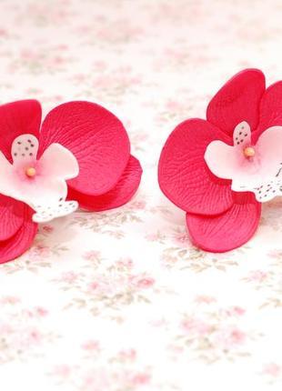 Комплект украшений с орхидеями: ободок и резинки4