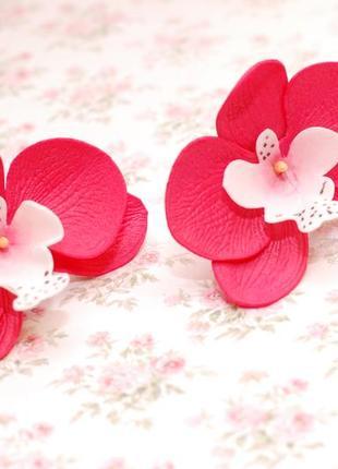 Комплект украшений с орхидеями: ободок и резинки3