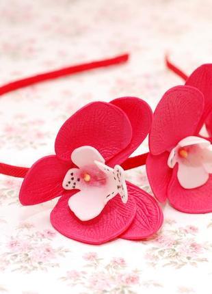 Комплект украшений с орхидеями: ободок и резинки5
