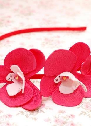 Комплект украшений с орхидеями: ободок и резинки6
