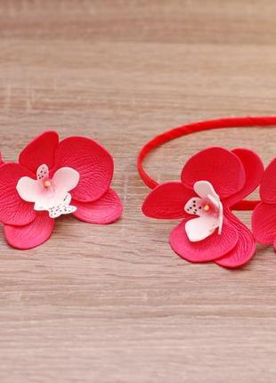 Комплект украшений с орхидеями: ободок и резинки
