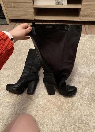 Осенние - зимние сапоги на каблуке высокие до колена3 фото