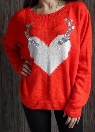 Стильный  оранжевый свитер с сердечком от primark