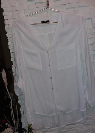 Hm белая крепдышиновая блуза