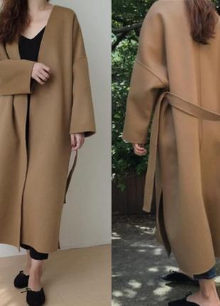 """Длинное пальто из кашемира,бесплатная доставка, 2 размера,3 цвета, модель  """"оверсайз"""""""
