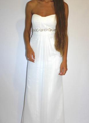 Белое шифоновое платье в пол - с биркой (5.000грн) 6( xs ! )