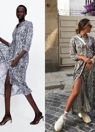 Шикарное,эффектное платье,вторая кожа,платье рубашка,змеиный принт