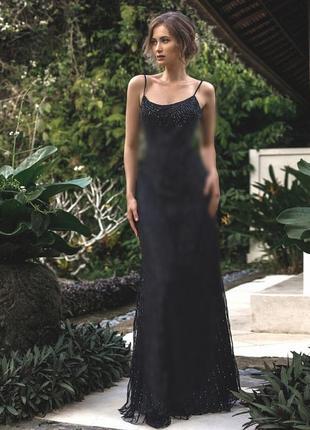 Вечернее кружевное платье а пол макси длинное фатин на бретелях с открытой спиной