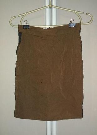 Юбка карандаш с лампасами из костюмной ткани3 фото