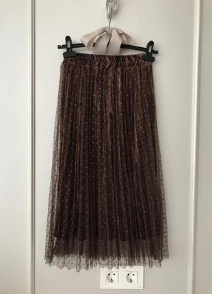 Шикарная бархатная юбка плиссе с фатином. s/m.