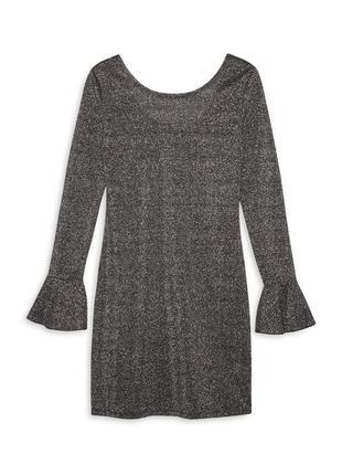 Нарядное блестящее платье , серебристое металлик  10 - размер .