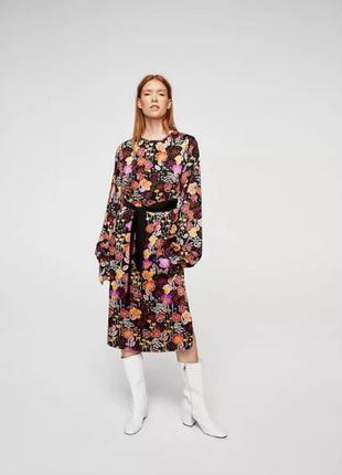 Миди платье  в роскошный принт -цветы mango1 фото