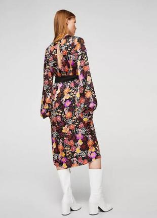 Миди платье  в роскошный принт -цветы mango3 фото