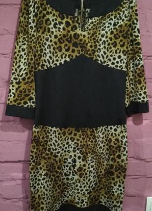 Симпатичное платье с леопардовым принтом, наш размер примерно 44-46