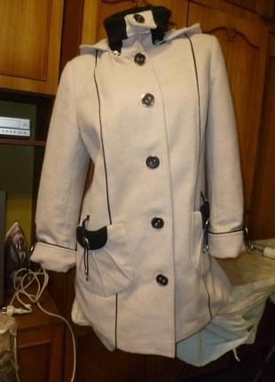 Полупальто-пальто t&m lemang шерстяное с трикотажным воротником,с капюшоном