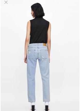 Прямые джинсы бойфренды с дырками с лампасами с полосками zara оригинал3 фото
