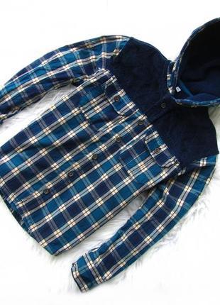 Стильная теплая рубашка кофта реглан   с капюшоном marks & spencer.