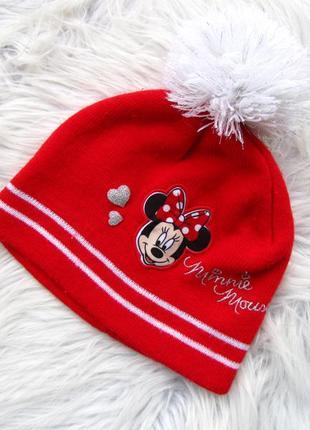 Стильная теплая шапка с бубенцом young dimension disney minnei mouse.
