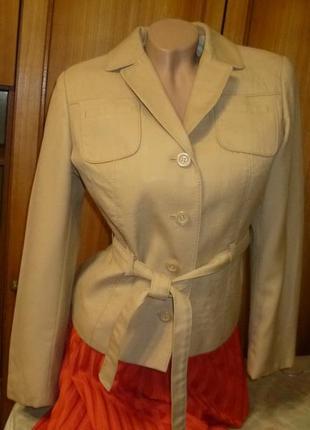 Классный пиджак-жакет с поясом,винтаж,чехословакия,весна-осень,короткий,приталенный