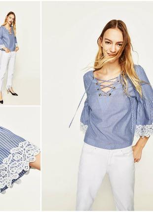 07c2beb9140 Стильная блуза в полоску с свободными кружевными рукавами от zara рубашка1  ...