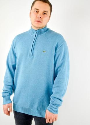 Lacoste бирюзовый джемпер с короткой молнией с логотипом и примесью шерсти, свитер, кофта