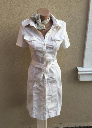 Белое платье-халат-рубашка,пояс,хлопок,tommy hilfiger,оригинал,маленький размер