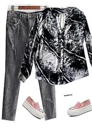 Шефоновая блуза модный принт размер 46-48