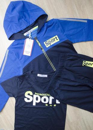 Новий спортивний костюм, трійка: кофта з капюшоном, футболка, штани