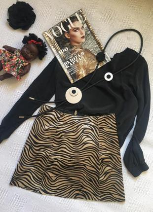 Хит сезона - юбка, искусственный, стриженый мех. хищный принт /mango/ размер s