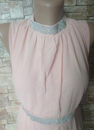 Пудровое платье в пол, длинное, вечернее, выпускное, на праздник