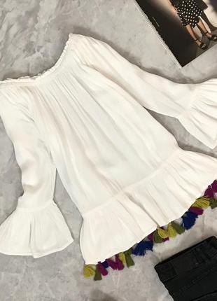 Легкая блуза из натуральной ткани с разноцветными кистями  bl1906008  tu