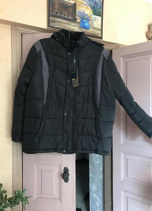 Куртка чёрная зима тёплая на синтипоне мужска