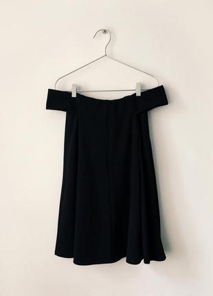 Стильное черное платье-трапеция с открытыми плечами boohoo8 фото