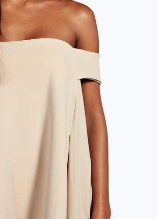 Стильное черное платье-трапеция с открытыми плечами boohoo3 фото