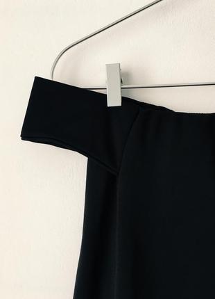 Стильное черное платье-трапеция с открытыми плечами boohoo9 фото