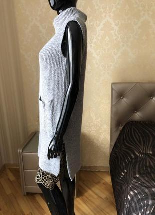 Удлиненный свитер, джемпер, тёплый гольф с карманами, размер s или не большая м.