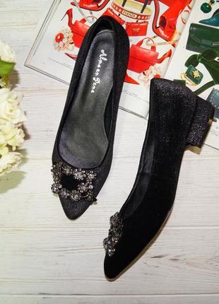 Elma en pena. роскошные бархатные туфли лодочки на низком